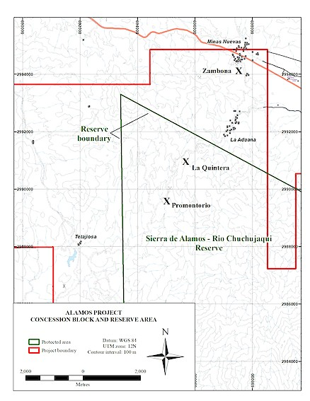 Alamos project concession and reserve boundary