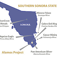 Sonora state and mining projects.  Cobre del Mayo's Piedras Verdes mine borders on the North.  This image contains information about other properties in which Minaurum does not have an interest including Agnico Eagle Mines Ltd, Cobre del Mayo, Coeur Mining Inc, Minera Frisco, Pan American Silver Corp, Silvercrest Metals Inc.  Information about these properties is not necessarily indicative of the mineralization on the Company's properties.