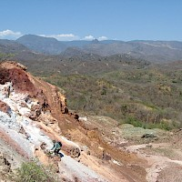 Zoomed in at the historic Santa Marta mine with an outcrop of a leached cap