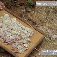 David M. Jones showcasing a Los Filos mineralized intrusion sample to Vuelcos surface intrusion outcrop indicating similar mineralization