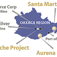 Oaxaca Region and mining projects.  This image contains information about other properties in which Minaurum does not have an interest including Fortuna Silver Corp, Gold Resource Corp.  Information about these properties is not necessarily indicative of the mineralization on the Company's properties.