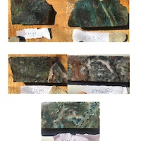 "AL17-007_Europa-Guadalupe_(one caption for set of 5 photos.  Depths are shown in metres.  ""Europa-Guadalupe vein, close-ups of mineralization.  Vein-vein breccia is partly oxidized to chrysocolla (green).  Dark grey metallic material is combination of acanthite (AgS), stromeyerite (AgCuS), chalcocite (Cu2S), and galena (PbS).  The interval 534.65-542.90 m (8.25 m) averaged 1.76 kg/t Ag, 58 ppb Au, 1.60% Cu, 1.48% Pb, 2.60% Zn."""
